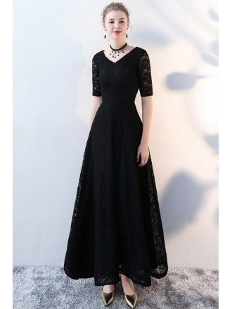 Long Black Lace Formal Dress Vneck with Half Sleeves