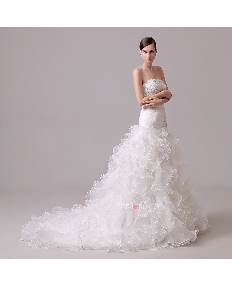 A-line Strapless Chapel-train Wedding Dress With Ruffle