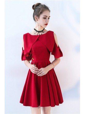 Elegant Burgundy Short Pleated Homecoming Dress with Cold Shoulder