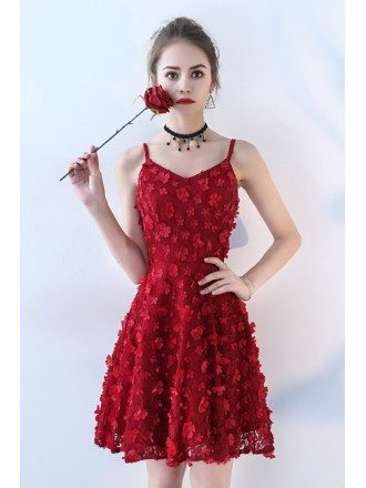 Burgundy Red Flowers Short Homecoming Dress with Straps