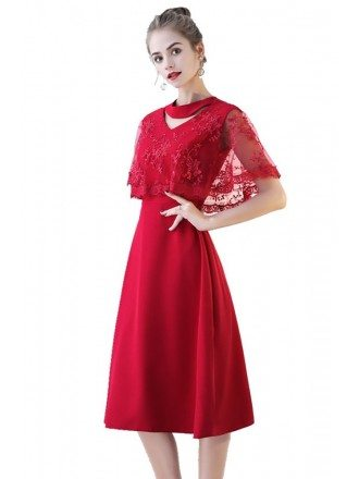 Modest Burgundy Red Lace Party Dress Knee Length