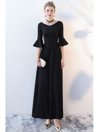 Elegant Ankle Length Black Formal Dress with Trumpet Sleeves