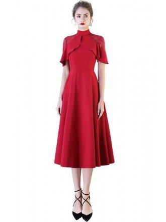 Burgundy Red High Neck Tea Length Party Dress with Sleeves