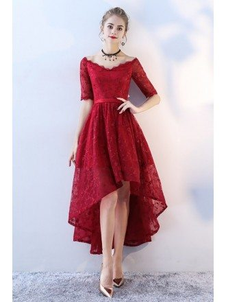 Red Lace V-neck High Low Prom Homecoming Dress with Sleeves