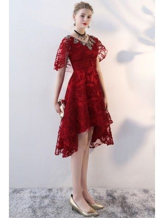 Burgundy Red Lace High Low Party Dress with Cape Sleeves