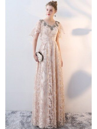 Elegant Champagne Long Prom Dress Lace with Sleeves