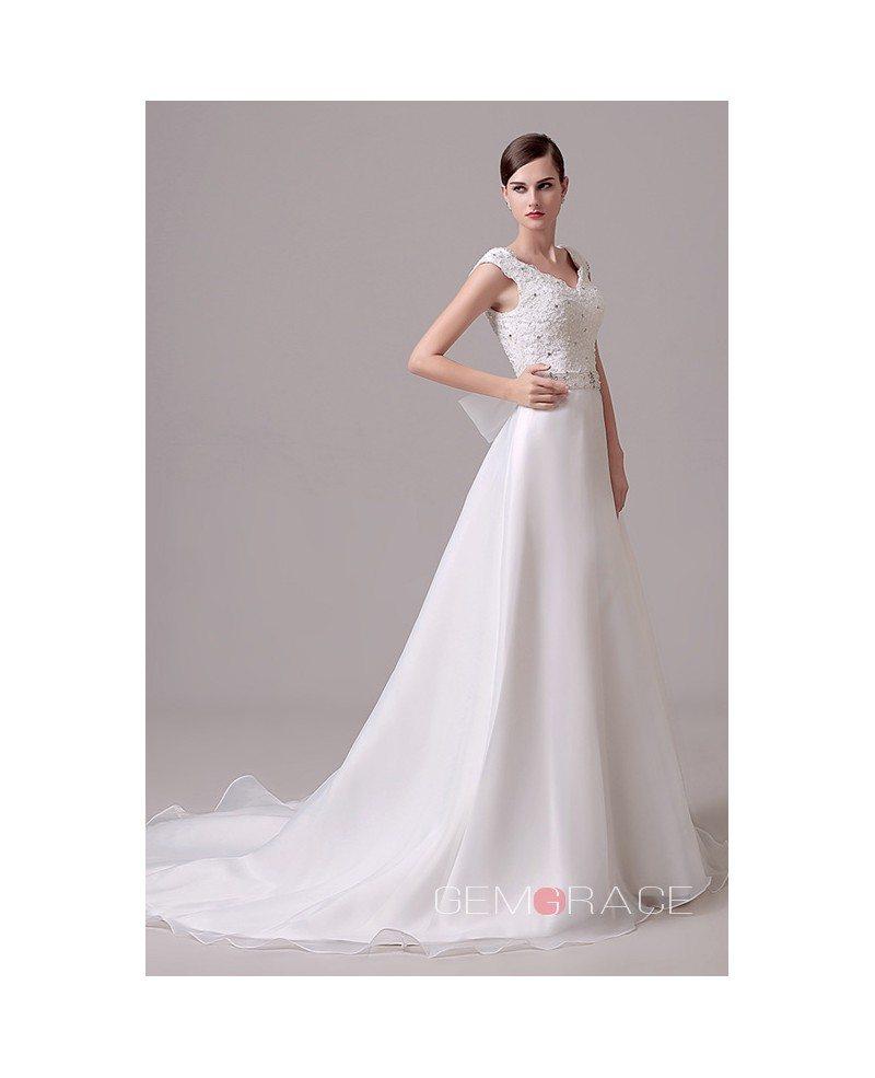 A line v neck court train wedding dress c28303 154 for V neck a line wedding dresses