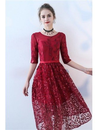Burgundy Sequined Leaf Pattern Party Dress with Sleeves