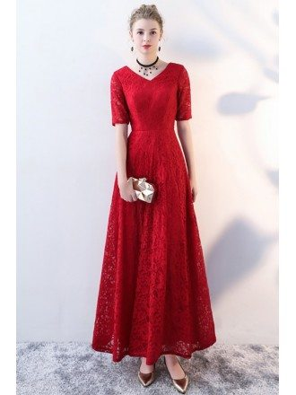 Burgundy Long Red Lace Formal Party Dress with Sleeves