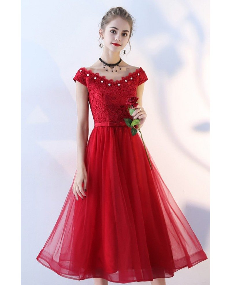 beaded vneck cap sleeve red tulle party dress tea length  bls86050