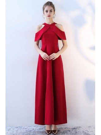 Simple Long Red Halter Wedding Party Dress Empire Waist