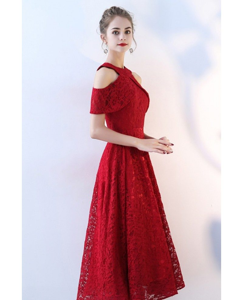 Tea Length Red Lace Homecoming Party Dress Aline Bls86106