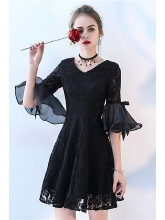 Short Black Lace Homecoming Dress with Bell Sleeve