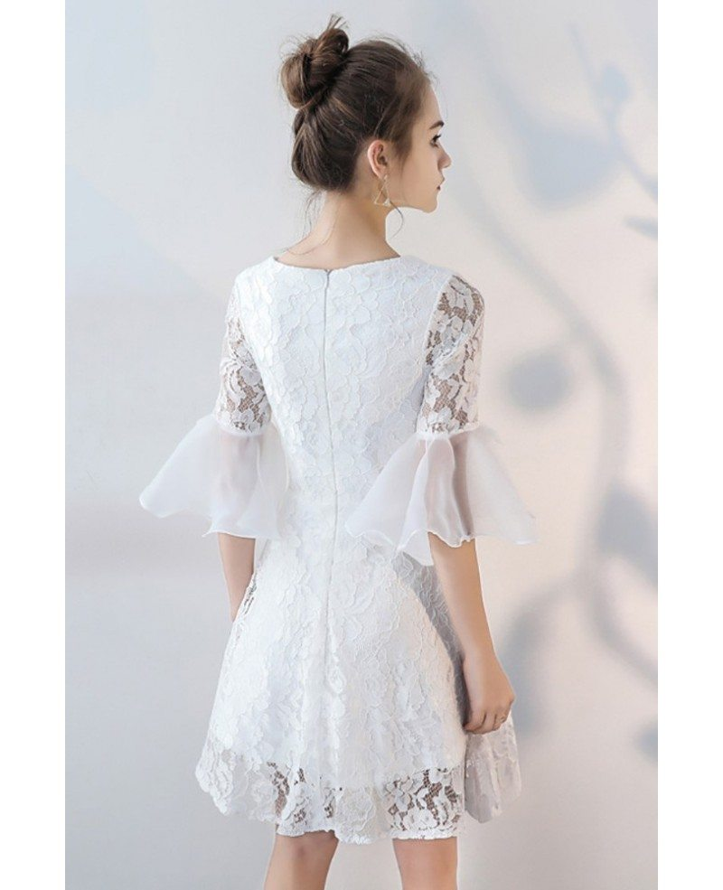 V-neck White Lace Short Party Dress Aline with Sleeves # ...
