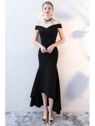 Fitted Black Mermaid Formal Dress Off Shoulder