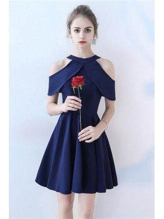 Simple Navy Blue Short Homecoming Dress Aline