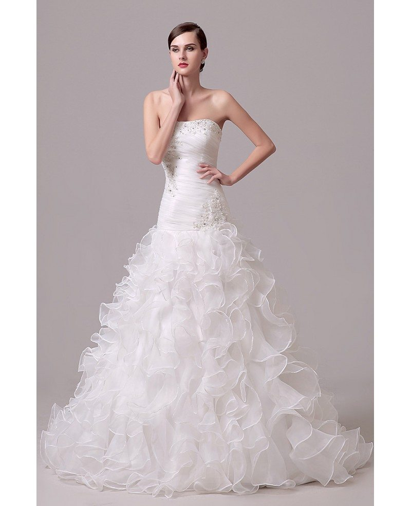 A-line Strapless Chapel-train Wedding Dress With Ruffle #C36302 $168 ...