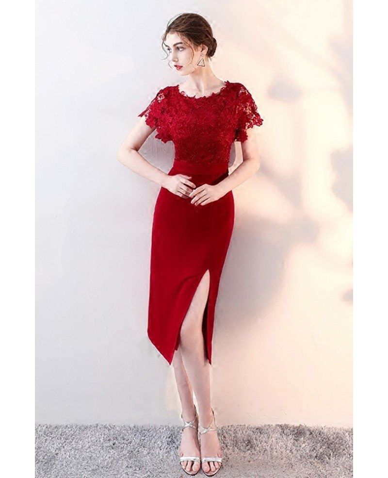 Burgundy Lace Short Sleeves Wedding Party Dress with Slit #HTX86044 ...