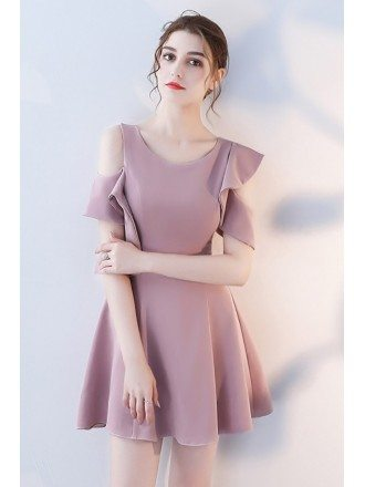 Pretty Mauve Short Homecoming Dress with Ruffles