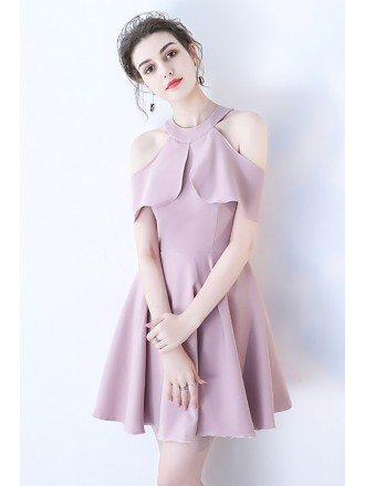 Pretty Mauve Short Homecoming Dress Cold Shoulder with Ruffles
