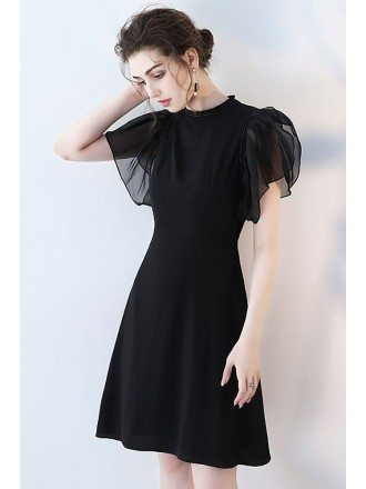 Elegant Short Black Formal Party Dress with Puffy Sleeves