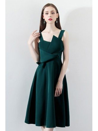 Dark Green Pleated Aline Party Dress with Straps