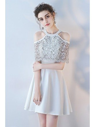 Short White Aline Homecoming Dress Halter with Black Lace