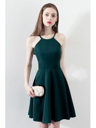Slim Dark Green Aline Short Party Dress Halter