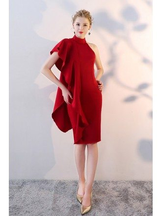 Charming Burgundy Fitted Cocktail Dress with Ruffles