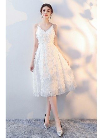 Pretty White Lace Tea Length Party Dress with Straps