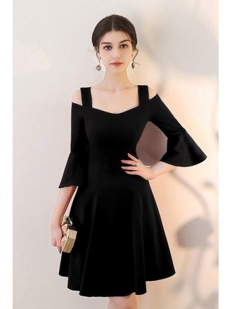 Black Aline Short Homecoming Dress with Bell Sleeves
