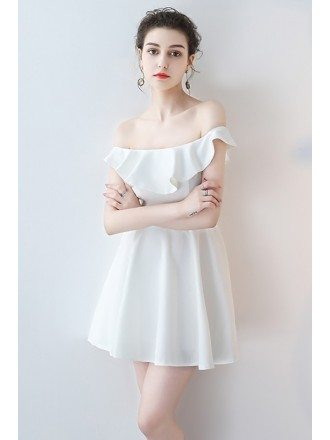 Little White Off Shoulder Mini Homecoming Dress with Flounce