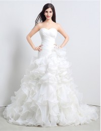 A-line Sweetheart Chapel Train Wedding Dress with Ruffle #C36110 ...