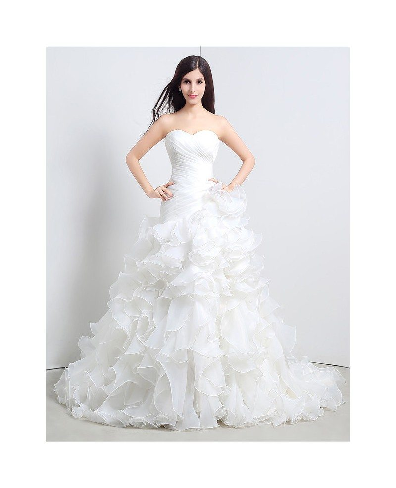 A-line Sweetheart Chapel Train Wedding Dress with Ruffle #C36110 ...