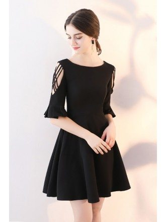 Short Black Flare Aline Homecoming Dress with Sleeves