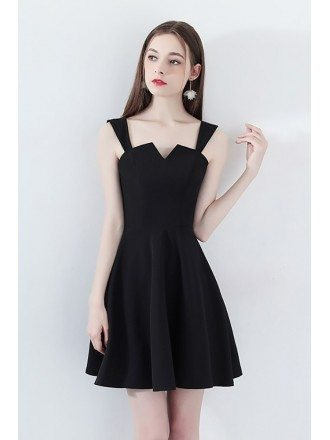 Black Short Homecoming Party Dress Fit and Flare with Straps