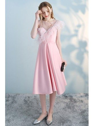 Cute Pink Short Party Dress with Feathers Beaded Neckline