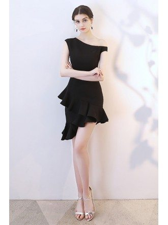 Little Black Fitted Mermaid Short Party Dress with Ruffles