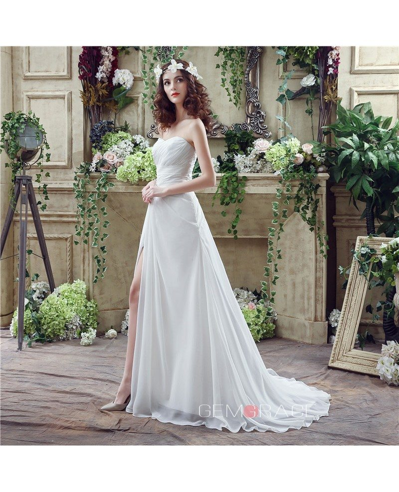 A line sweetheart chapel train wedding dress c20251 168 for Wedding dresses chapel train