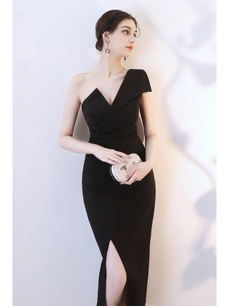 Sexy Black Side Slit Mermaid Party Dress One Shoulder