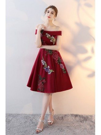 Burgundy Off Shoulder Embroidered Party Dress with Lace Up