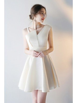 Simple Champagne Homecoming Party Dress Short with Asymmetrical Straps
