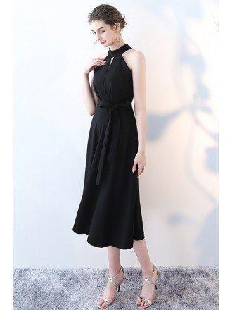 Elegant Tea Length Black Party Dress Halter Neckline