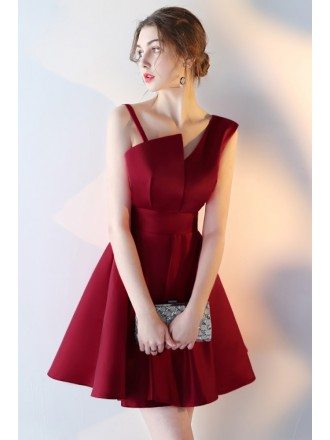 Burgundy Short Aline Homecoming Party Dress with Straps