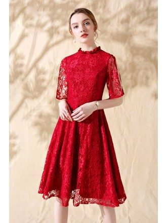Red Lace Short Aline Party Dress with Lace Sleeves