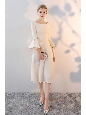 Champagne Knee Length Formal Dress with Bell Sleeves