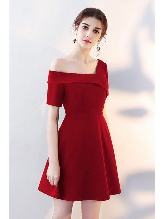 Asymmetrical Off Shoulder Burgundy Homecoming Dress with Sleeves