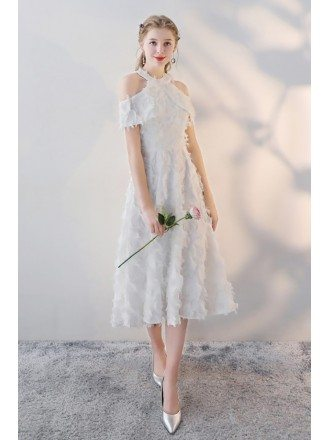 Gorgeous White Feathers Tea Length Party Dress with Cold Shoulder