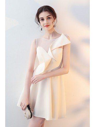Champagne Aline Short Homecoming Wrap Dress Sheer Neck
