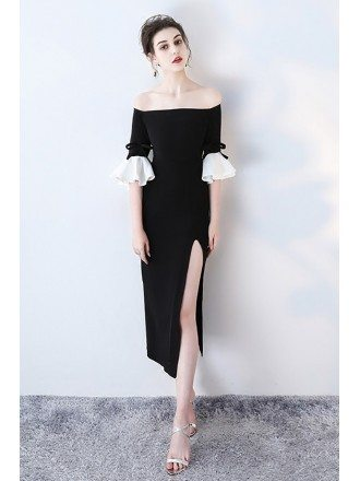 Sexy Off Shoulder Side Slit Party Dress with Bell Sleeves